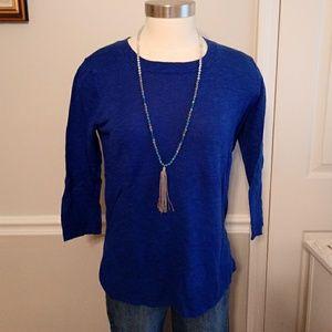 Bright royal blue crew neck 34 sleeve sweater